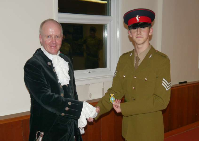 High Sheriff of Rutland Andrew Brown appoints his new cadet Sgt Nick Pallett. EMN-151216-145550001