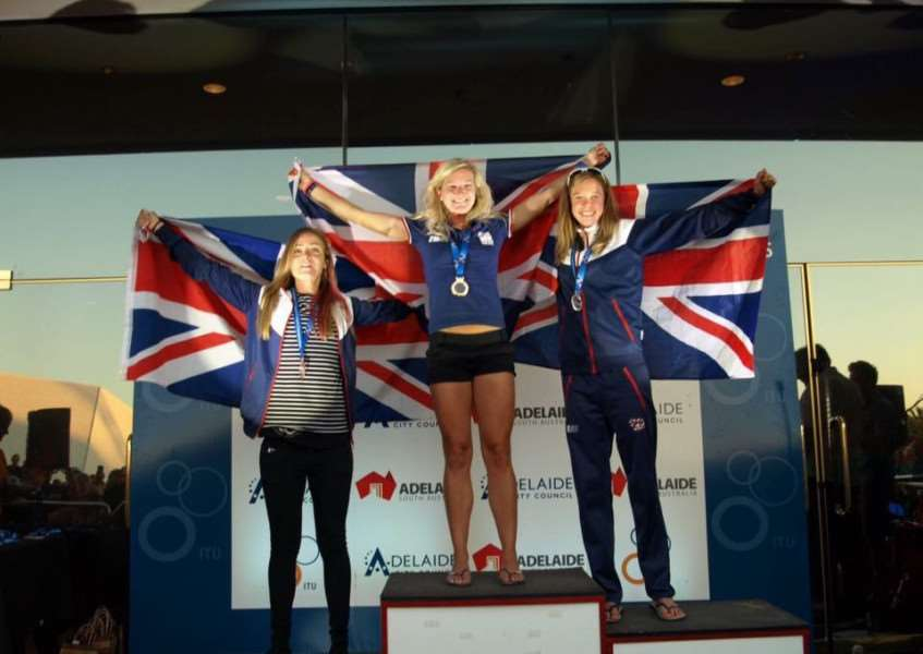 Claire Steels (centre) on the podium in Adelaide with Hannah Enoch (right) and Rebecca York.