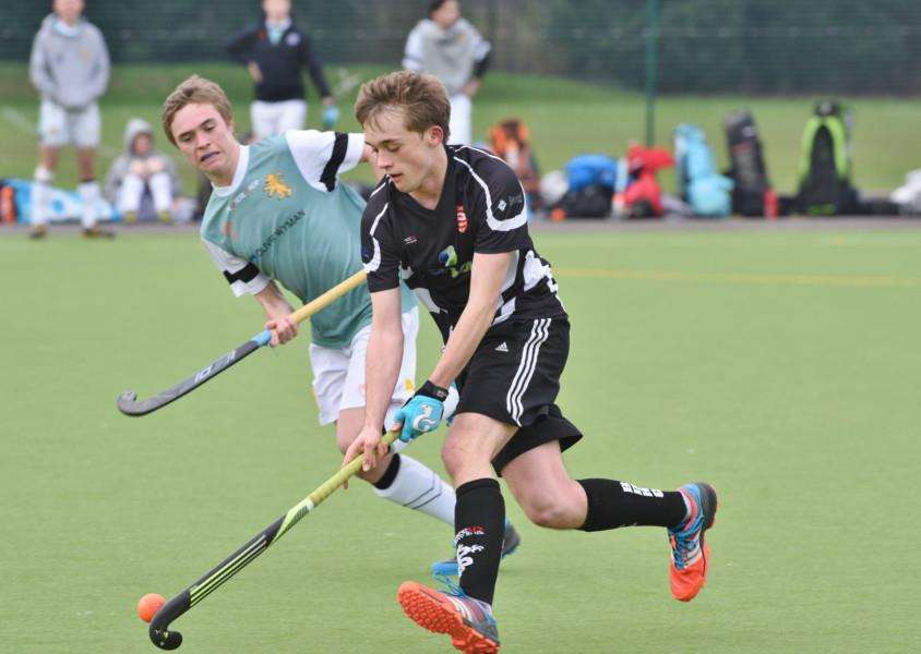Hockey action from Bourne Deeping Dragons 2 v Cambridge University 3 at AMVC EMN-160213-170144009