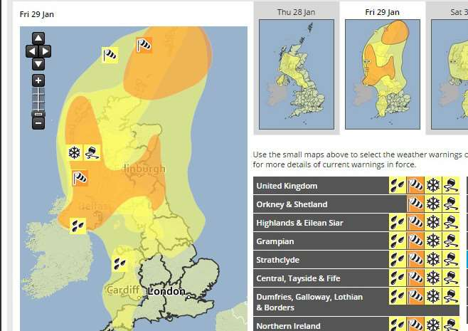 The Met Office weather warning map for Friday
