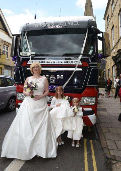 Sarah Farrington, Brett Baines wedding at Stamford register Office. The bride arrived in a Lorry Cab EMN-150905-181106009