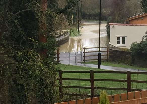 The River Witham through Colsterworth has burst its banks. Photo: John Pilgrim