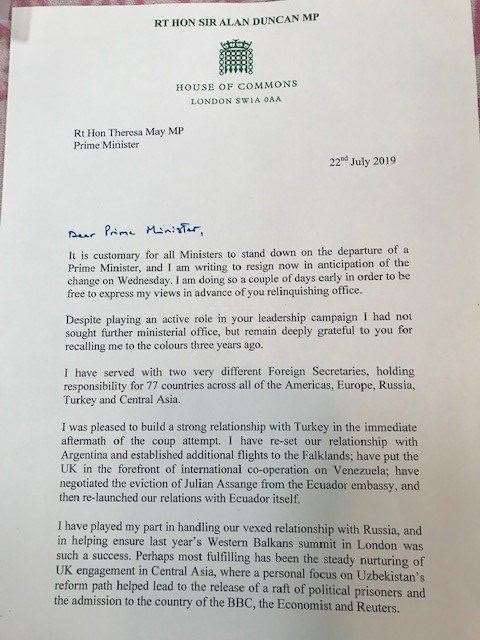 Sir Alan Duncan's resignation letter from the role of Foreign Minister (14105727)