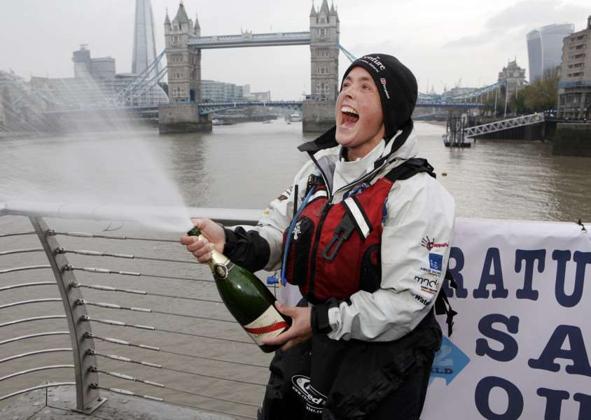 Sarah Outen finishes her London2London: Via The World challenge at Tower Bridge. ''Photo: www.sarahouten.com EMN-150311-143650001