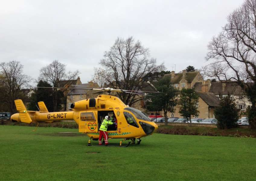 Air ambulance in Stamford.
