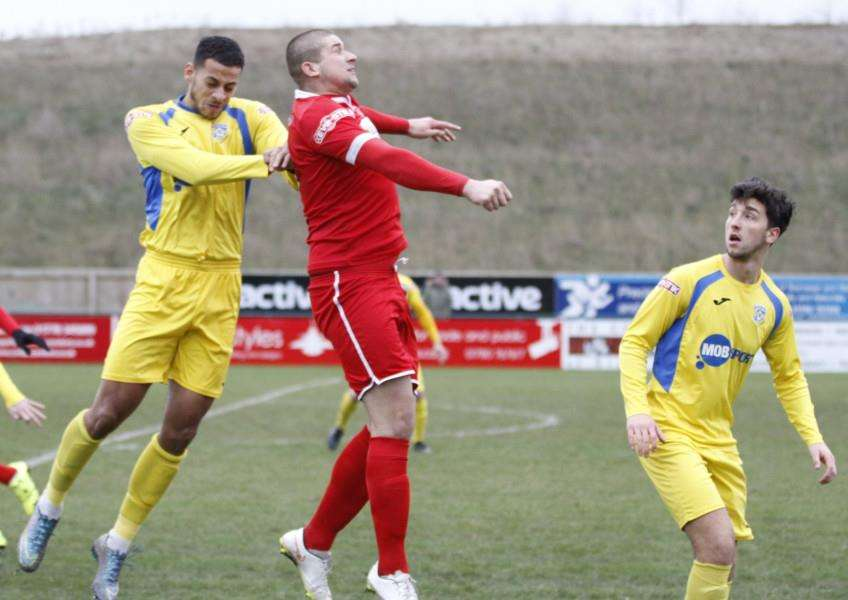 Action from Stamford AFC v Frickley Athletic. Photo: Geoff Atton EMN-160216-093015001