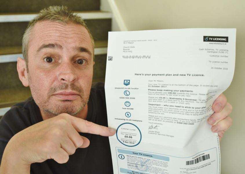 Paul Mason, of Church View, Bourne, with his 6p bill from TV Licensing EMN-160211-173508009