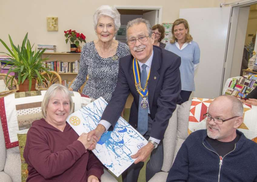 Uppingham Rotary Club presentation of chairs to Dove Cottage Day Hospice in Ridlington. Photo Lee Hellwing