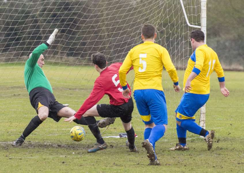 Sam Eldridge scores for Uppingham Reserves in their defeat to Stamford Bels Reserves.