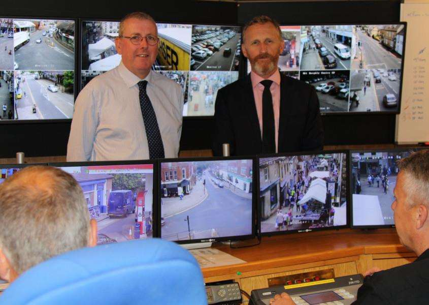 Coun Dr Peter Moseley, SKDC's Cabinet Member for Environment, and Mark Jones, the district council's Business Manager for Neighbourhoods, in South Kesteven's CCTV control room. Photo supplied.
