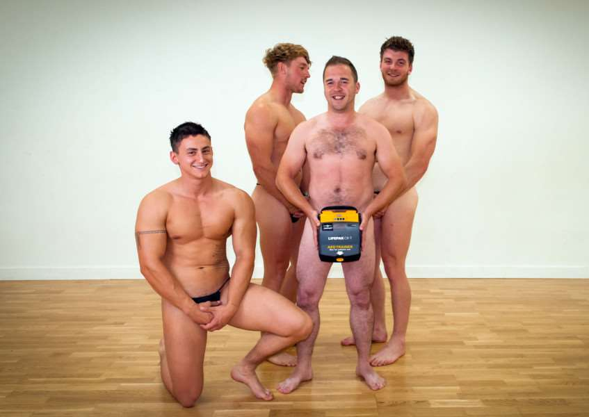 Ben Evans, Alan Flanders, Dan Barford and Rylan Orchard pose for the first photo of the Dosh4Defibs calendar. Photo: Rachel Williams. EMN-150715-150838001