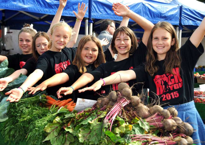 Rock You Theatre School members after a flashmob on market day in Bourne. Photo by Tim Wilson.