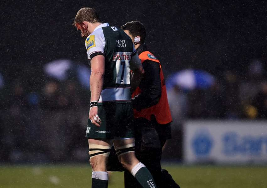 Leicester Tigers' Tom Croft leaves the field of play with an injury during the Aviva Premiership match at Allianz Park, London. Photo: Andrew Matthews/PA Wire EMN-160401-161028001