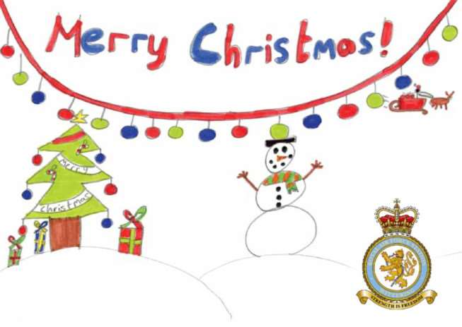The Christmas card designed for RAF Wittering by Wittering Primary School pupil Ellie-May Thompson. EMN-141215-150840001