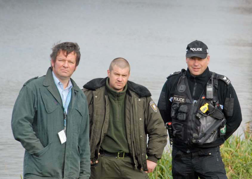 Adrian Saunders of the Environment Agency, Rafal Sosnowski from the Polish fishing authorities, Sergeant Dave Robinson of Lincolnshire Police carry out checks as part of Operation Traverse in Spalding. Photo by Tim Wilson