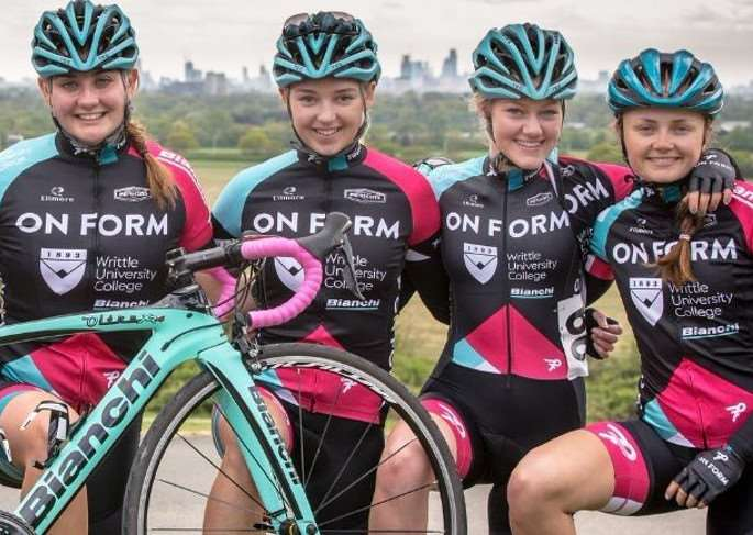 TEAM ONFORM: Sian Botteley and Jessica Woodworth (right and second right), with (from left) Neve Upton, Clover Murray, Julie Erskine, Lucy Harper and Holly Hoy. Photo by Huw Williams.