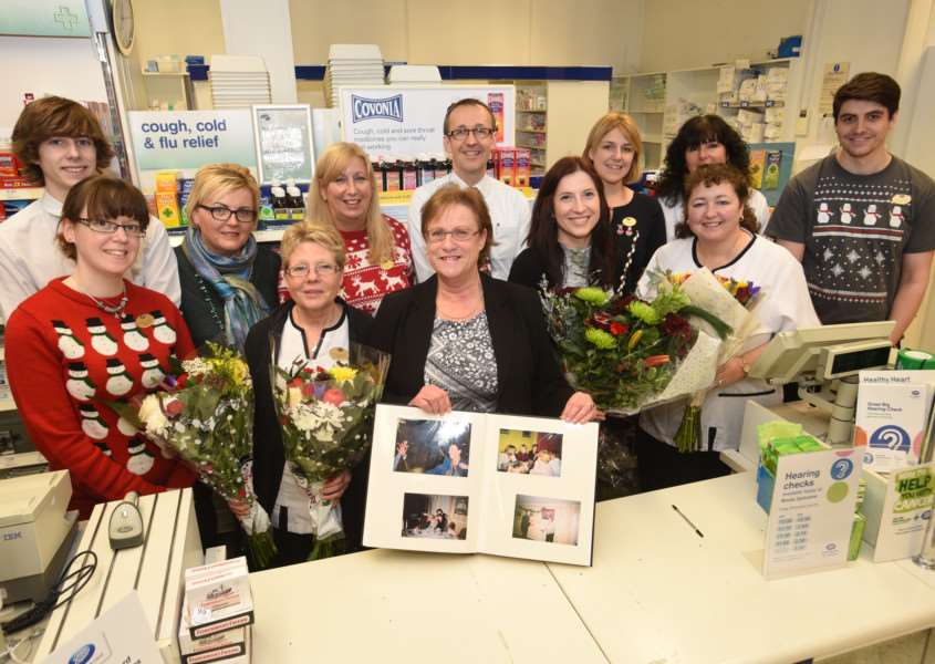 Julie Green retires from Boots the Chemist at Stamford after 30 years service EMN-151230-151902009
