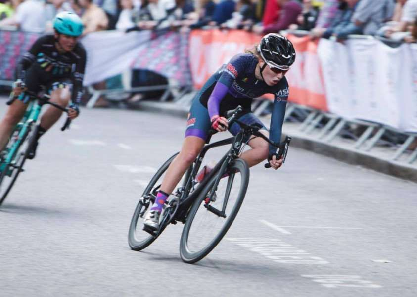 FAST LEARNER: Maddie Gammons in action at the London Nocturne cycle race in June. Photo by Honor Elliott.