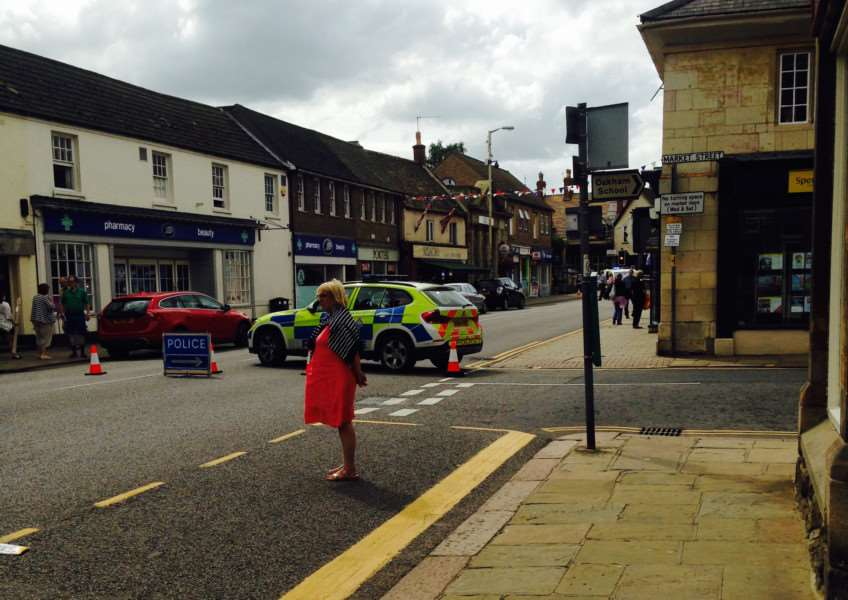 High Street in Oakham is closed after a boy was hit by a car. EMN-150308-151000001