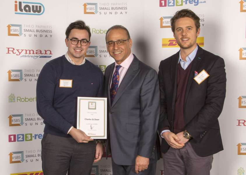 Tom Perkins and Simon Grace from Charles & Dean with Theo Paphitis EMN-160223-125708001