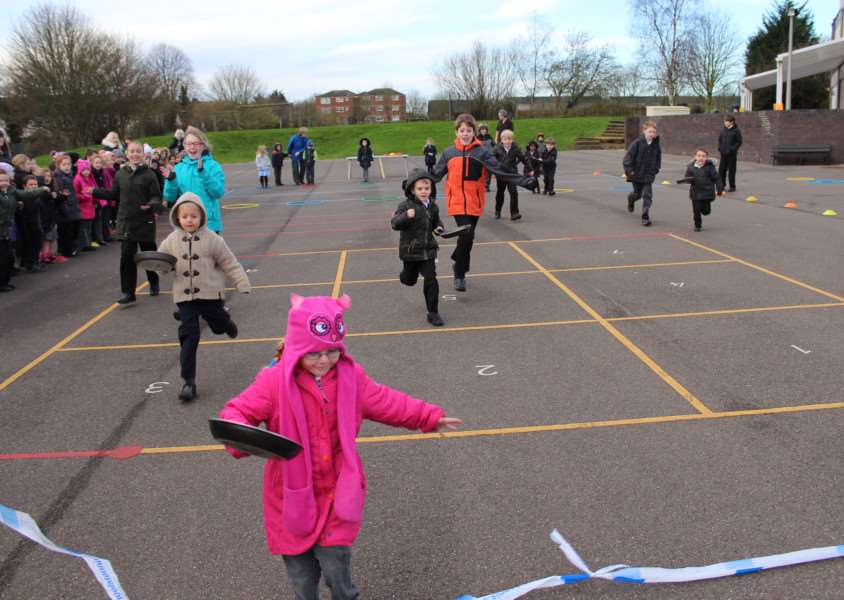 Bluecoat School in Stamford held a pancake race on Tuesday, February 9 EMN-160902-113947001