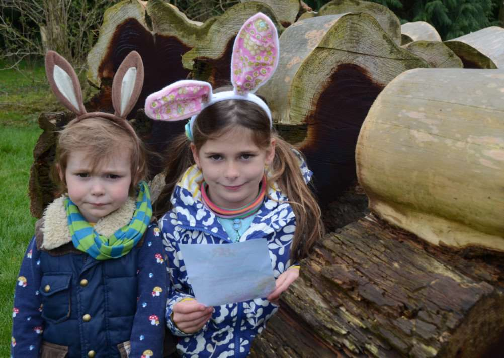 Easter Egg Hunt at Burghley Houise gardens. Pictured are Tallulah (7) and Jonah (3) Stamp EMN-150504-171125009