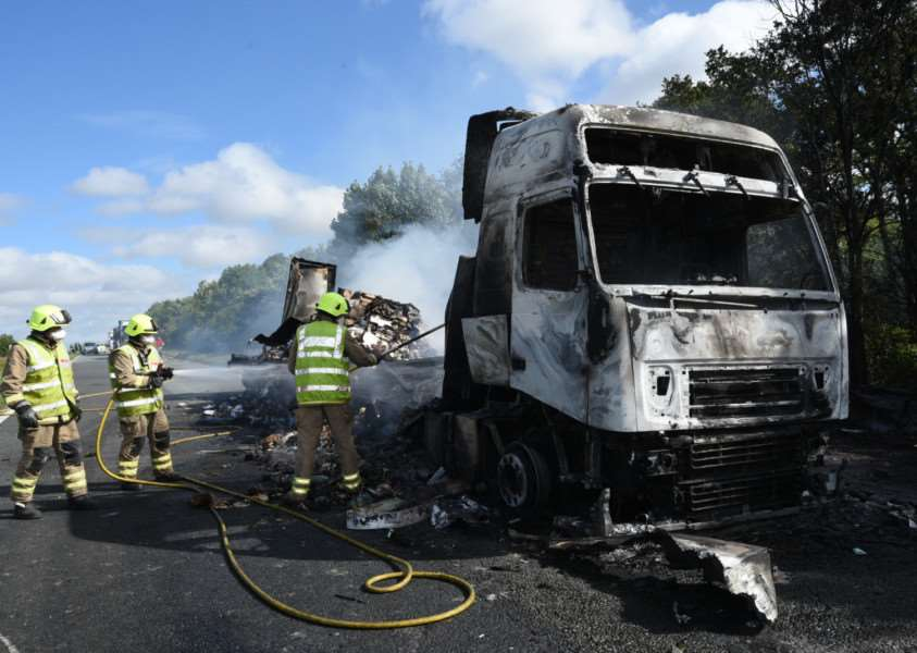 The aftermath of the lorry fire on the A1 today