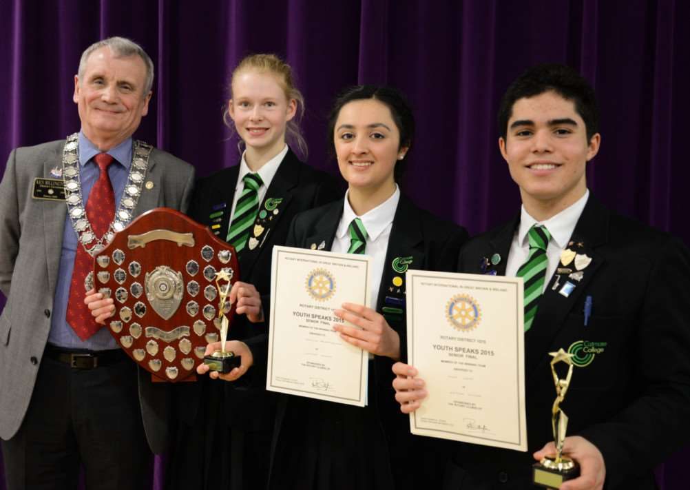Ken Billington District Governor with Catmose winning team Holly Jones, Yaznia Pourmozafari and Isaac Costa. Photo courtesy of Alan Walters. EMN-150316-103108001