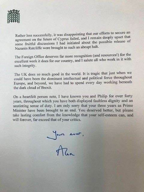 Sir Alan Duncan's resignation letter from the role of Foreign Minister (14105729)