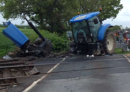 The aftermath of one of the collision on a level crossing