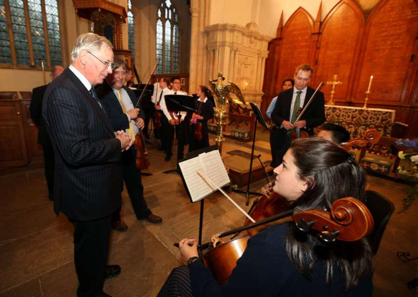 Appeal Launch: Fotheringhay: St Mary and All Saints Church 'The Friends of Fotheringhay Church appeal launched by Appeal Patron HRH The Duke of Gloucester. 'The Duke talks to members of Oundle School's string ensemble'Wednesday September 16 2015 NNL-150916-223028009