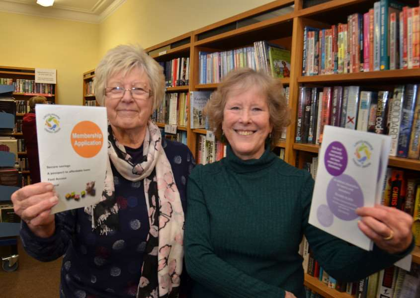 Volunteers 'Sue Newman and Carol Precey of Deepings Credit Union who will be at Deepings Community Library on Wednesday between 11am and 3pm. Photo by Tim Wilson.