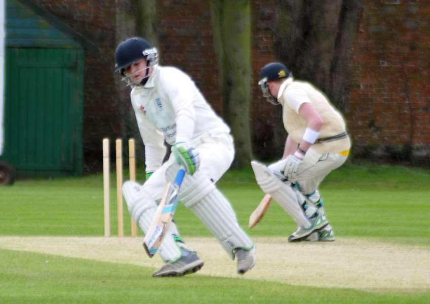 Abbey Lawn, Bourne - Rutland League cricket action v Medbourne'Bourne bat Ben and Archie Stroud ANL-151204-200635009