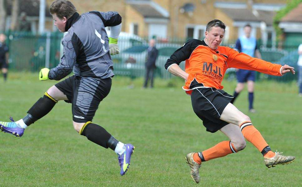 Action from the Peterborough League play-off match between Ketton Reserves and Stamford Bels. Photo: David Lowndes.