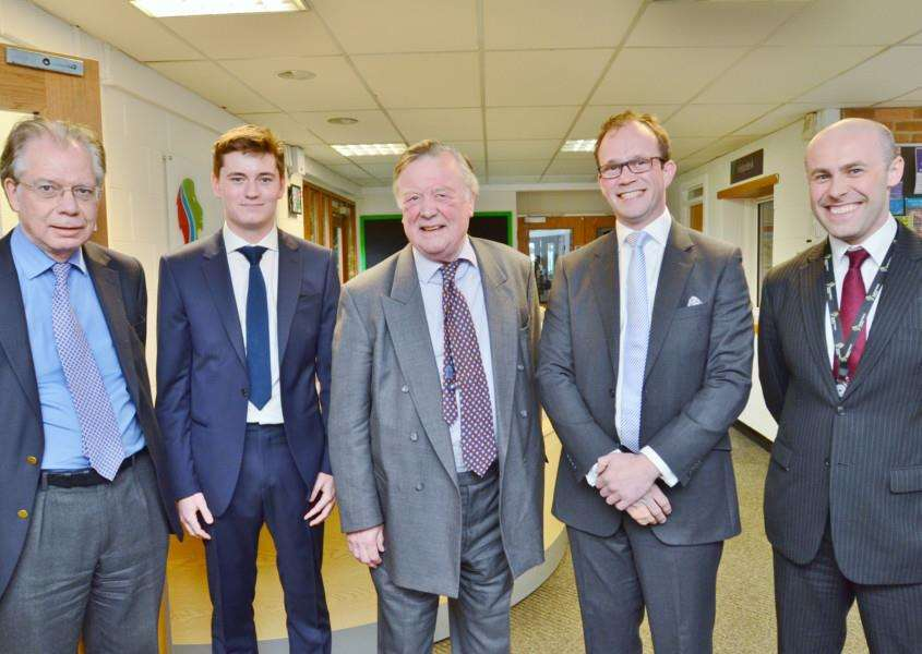 EU Brexit debate at Stamford Welland Academy with Professor Timm Congdon, David Champion, Kenneth Clarke MP, Matthew lee and principal Anthony Partington. EMN-160423-173345009