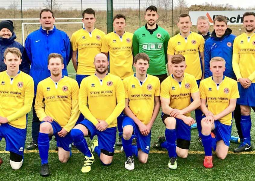 Stamford Lions are pictured before Saturday's epic encounter with AFC Stanground.