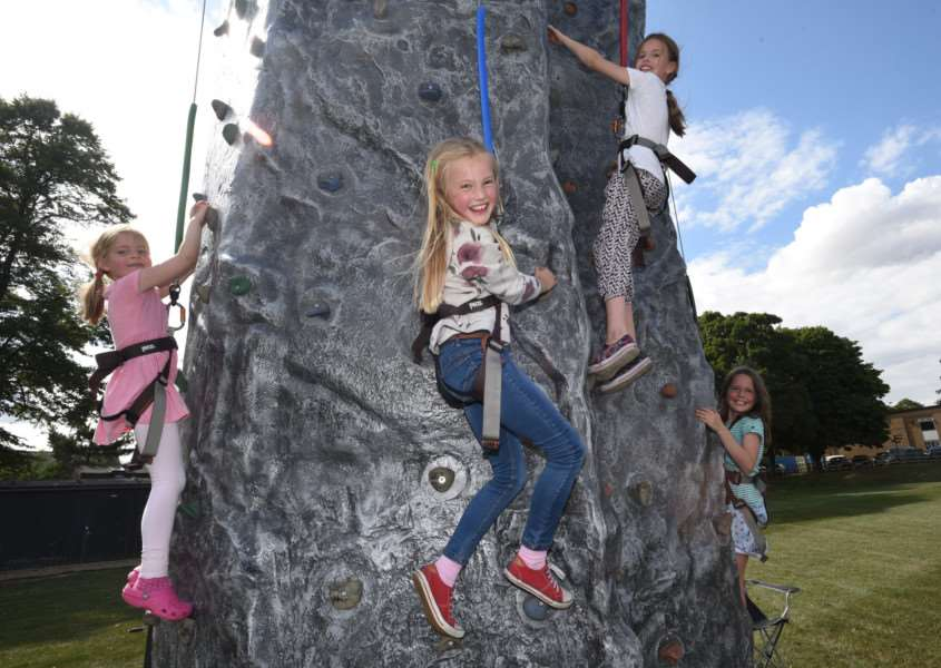 Stamford school Sport Bash 2015 Annabel Anslow, Amelia Green, Kathryn Linsell and Lauren Alwell on the climbing wall EMN-150723-222940009