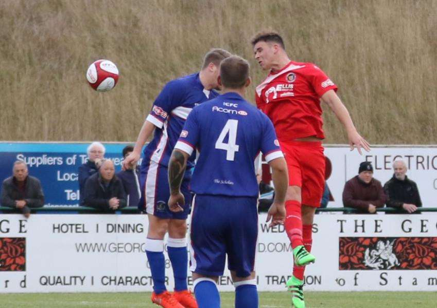 Action from Stamford AFC's 2-1 win over Chasetown at the Zeeco Stadium. Photo: Geoff Atton EMN-161025-145008001