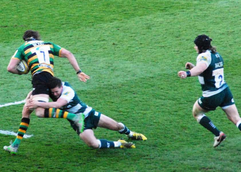 Action from Northampton Saints against Leicester Tigers. Photo: John Evely EMN-160419-100207001