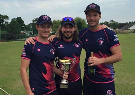 Ben Bryant (left), Rob Vitas (centre) and Ulrich Van Duyker (right) celebrate Ketton's success in the Rutland Twenty/20 Cup.