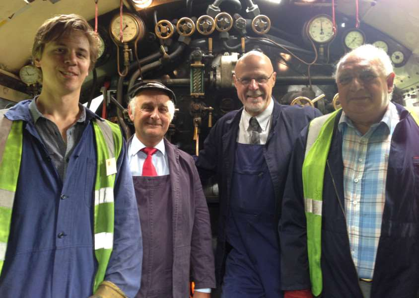 Driving experience at Nene Valley Railway - the Tornado locomotive. Mercury reporter Alex Moore with driver Peter Richardson, fireman Jim Gosney and visitor David Band.''Photo: MSMP-21-08-15-am001 EMN-150821-164457001