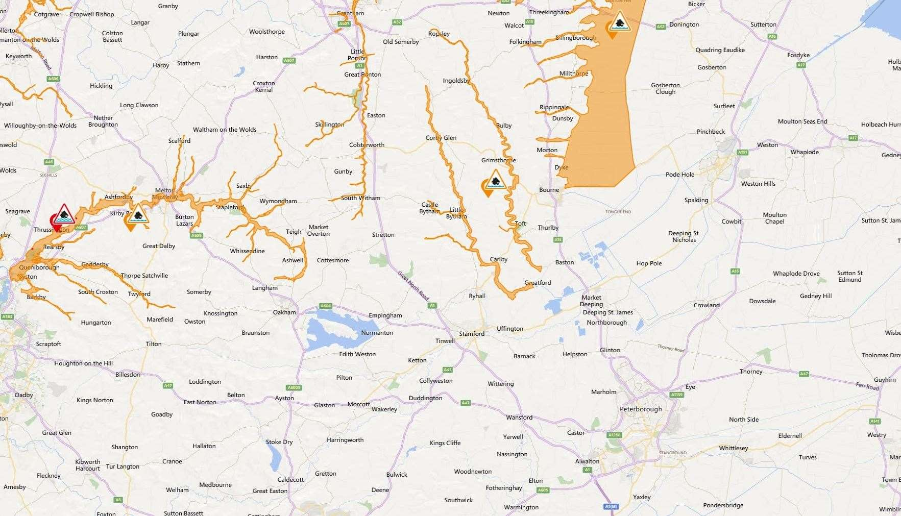 Flood map for Stamford area June 13 (12304692)