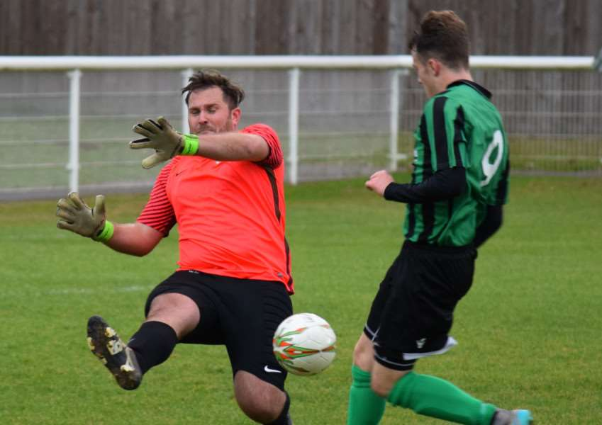 Action from Lutterworth Athletic against Blackstones. Photo: Martin Davies EMN-160211-164506001