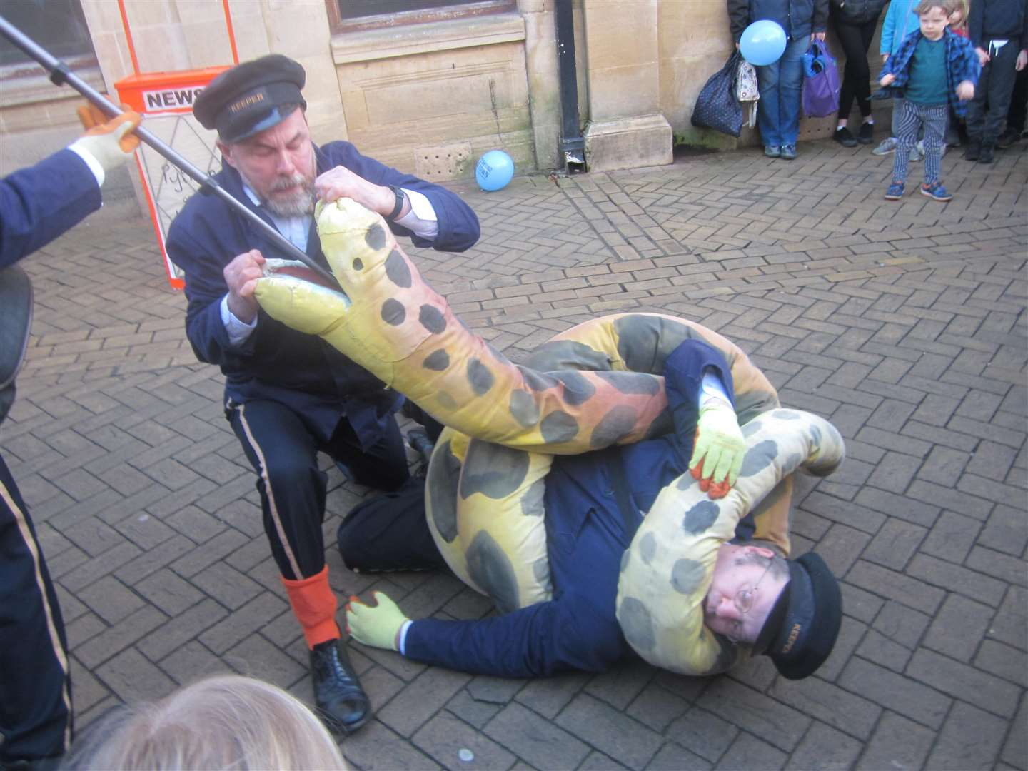 Python on the loose- enjoyable performance in Stamford High Street (7385268)