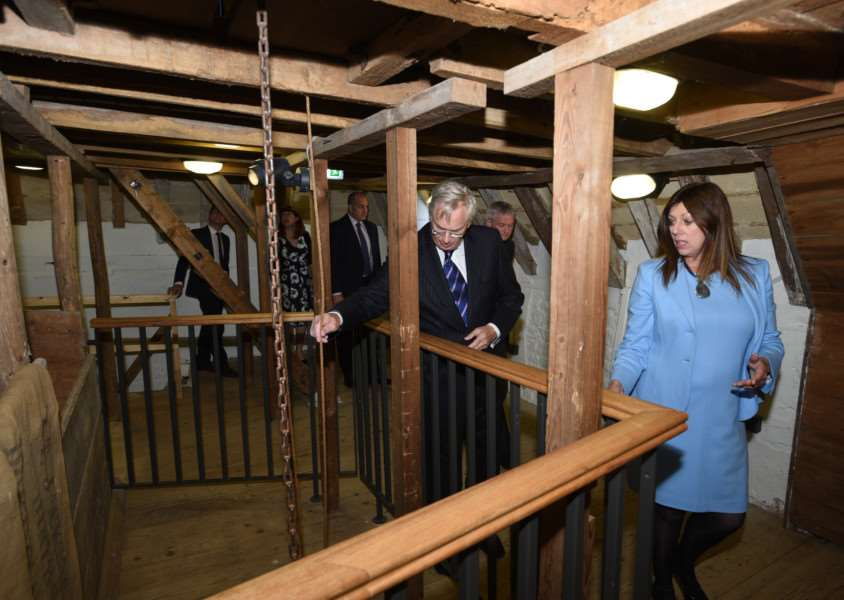 Duke of Gloucester's visit to officially open Sacrewell Mill. He is accompanied by Jane Harrison (Mills project officer) EMN-150110-171202009