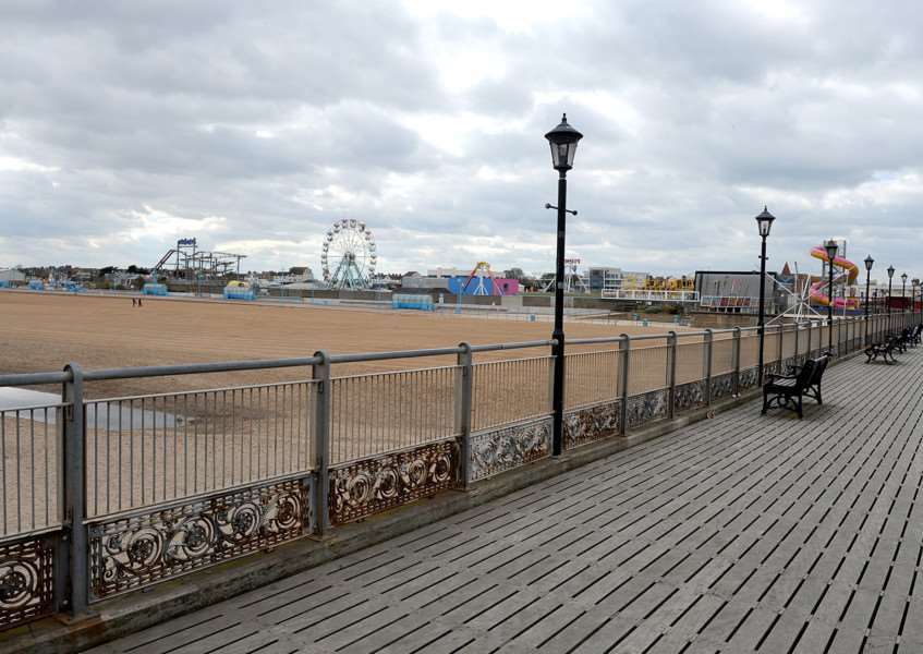 Skegness beach and pier.