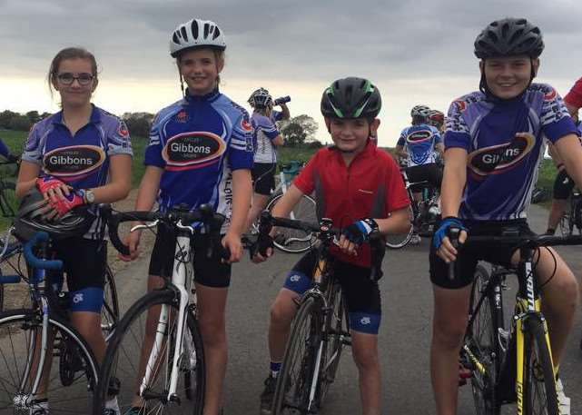 YOUNG RIDERS: Will and Mimi Gurney, Velvet and Jack Bowser, with Ed Gurney of Spalding Cycling Club.