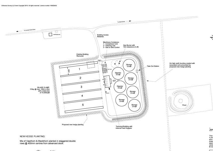 An artist's impression of plans for an anaerobic digester plant on land off Counter Drain Drove, Tongue End.