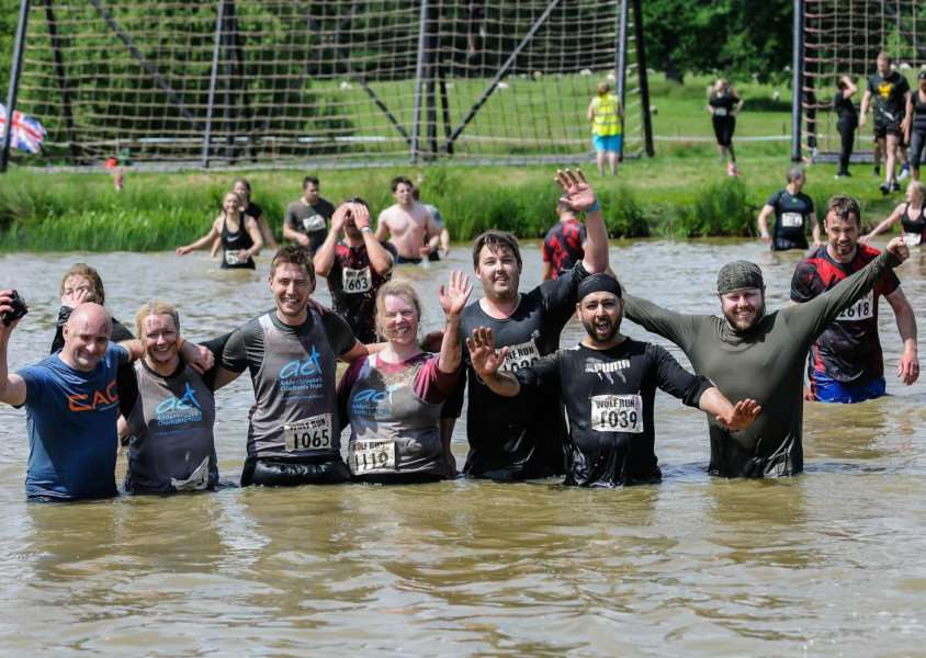 Intercity Technolgy staff taking on The Wolf Run, from left Rob Stanley, Siobhan Quinn, Adam Jeffery, Lisa Batty, Stewart Nicol, Jas Singh, Barnaby Allan. Submitted.