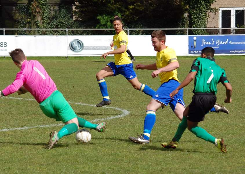 Action from Blackstones 3-1 win over Bugbrooke St Michaels. Photo: Martin Davies EMN-160405-144328001